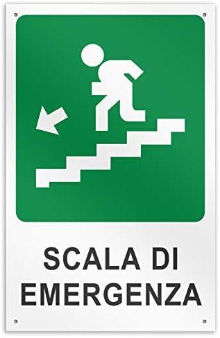 Señal de Advertencia de Aluminio 50 x 37 cm – Escalera de Emergencia en la Parte Inferior Izquierda: Amazon.es: Jardín