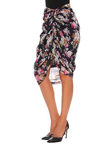 Zeagoo Women Printed Maxi Skirts Elastic Chiffon Ruched Frill Ruffle Skirt