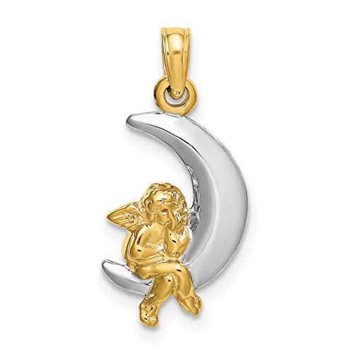 14k Two-Tone Yellow Gold Cherub Sitting On White Crescent Moon Pendant 15x10mm