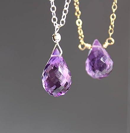 Collar amatista, gargantilla amatista, piedra de nacimiento de febrero, collar de lágrima amatista, collar de piedras preciosas, colgante de 12 ~ 13 mm