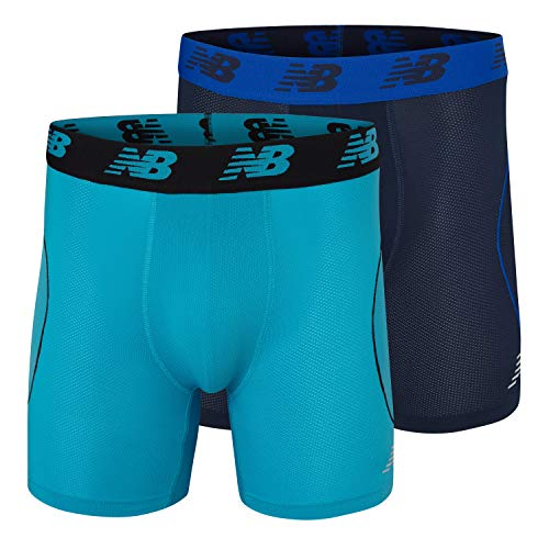 New Balance Mens Mesh Air Cool 6 Boxer Brief, No Fly, with Pouch (Pack of 2), Navy/Grey, Large (36-38)