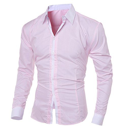 iYYVV Fashion Personality Men's Casual Slim Long-Sleeved Shirt Top Blouse ()
