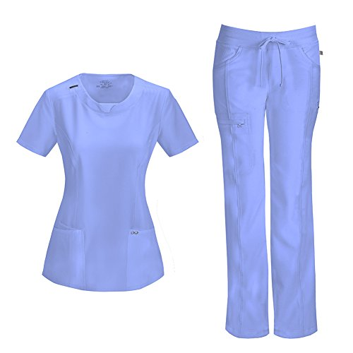 Infinity by Cherokee Womens 2624A Round Neck Top with badge loop & 1123A Straight Leg Low Rise Comfort Pant Medical Uniform Scrub Set Top & Pants (Ciel - Large / Large Tall)