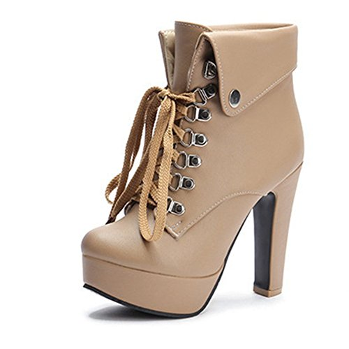 High Boots Kaloosh Round Heels Ankle Boots Toe Fashion Decoration Metallic Women's xwwYPq4O