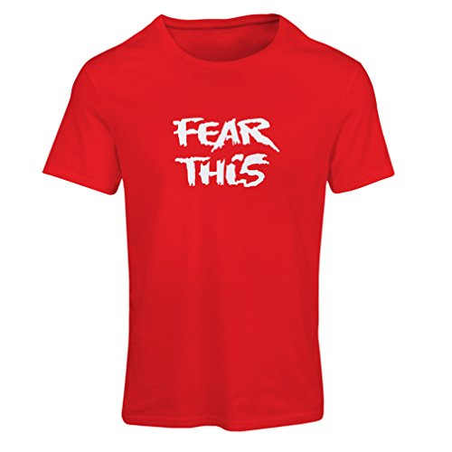 lepni.me Women's T-Shirt Fear This Motivational Fitness Workout Sport Shirt (Small Red White)