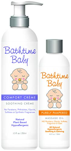 Bathtime Baby Comfort Creme Soothing Creme Lotion & Purely Pampered Massage Oil Set, 8.5 oz. + 4 oz. || Safe & Gentle, Natural, Toxin-Free, Sulfate-Free, Paraben-Free, Hypoallergenic