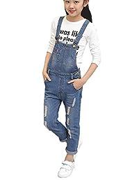 Merryway Big Girls Kid Long Jeans Cotton Suspender Denim Bib Overalls