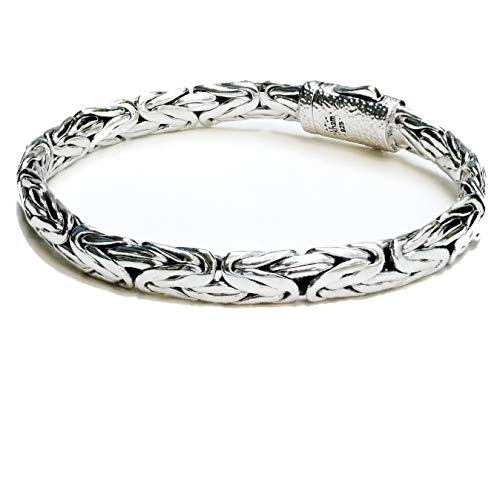 (8.2 mm. Woven Sterling Silver Braided Bali Style Cable Antique Style Byzantine Link Chain Bracelet for Men Length 8.5,9 inches (9))