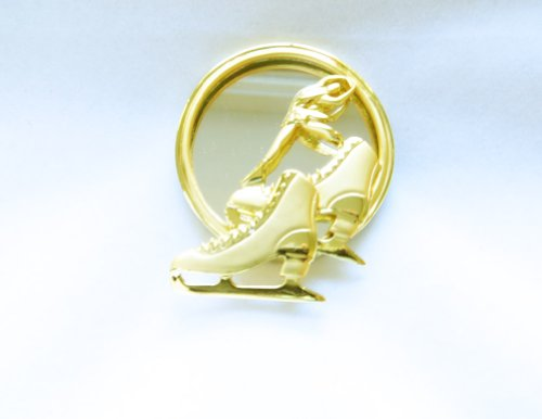Danecraft Gold - Plated Figure Skating Pin Brooch (Sports Themed Couples Costumes)
