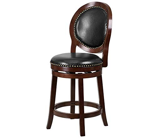- 26'' High Cappuccino Counter Height Wood Stool with Black Leather Swivel Seat Decor Comfy Living Furniture Deluxe Premium Collection