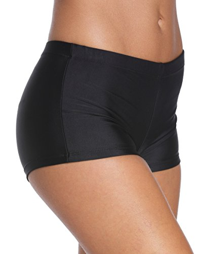 Wide Waistband Bikini Bottom (Angerella Women's Wide Waistband Swimsuit Bikini Bottom Boy Shorts,Black,US 14-16=Tag Size 5XL)