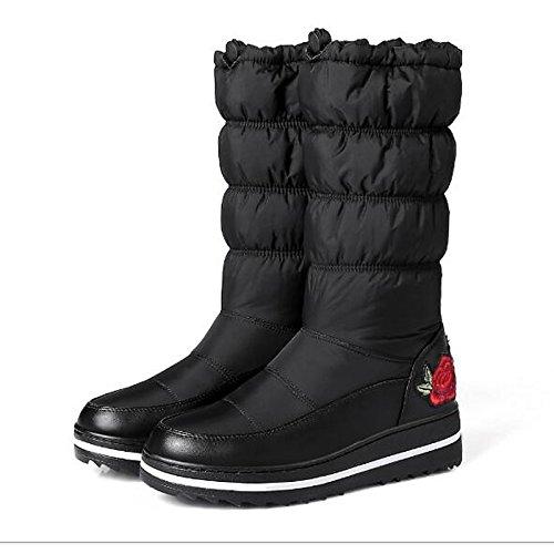 HSXZ Zapatos de Mujer Otoño Invierno tejido confort botas botas de nieve botas de tacón bajo Mid-Calf for casual azul negro Black