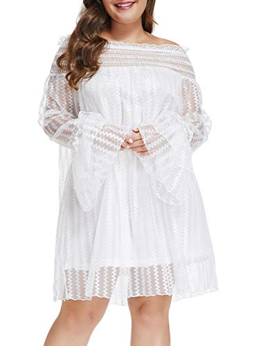 Size Mesh Lace Off Shoulder Ruffle Long Sleeve Party Mini Dress White XXL ()