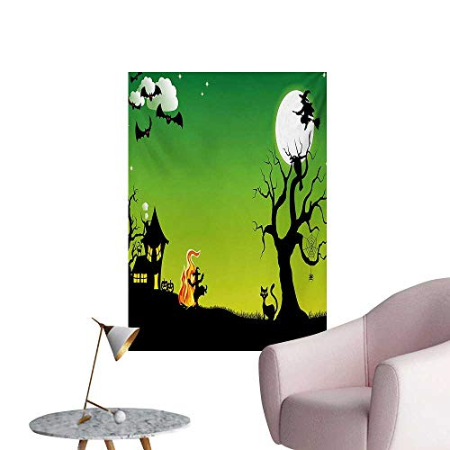 Halloween Wallpaper Witches Dancing with Fire and Flying at Halloween Ancient Western Horror ImageGreen Black W32 xL48 Poster Print]()