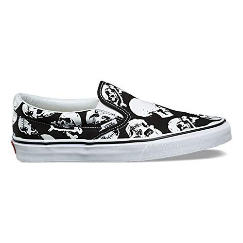 (Vans Classic Slip On Skulls Black/True White Men's Skate Shoes Size 9.5)