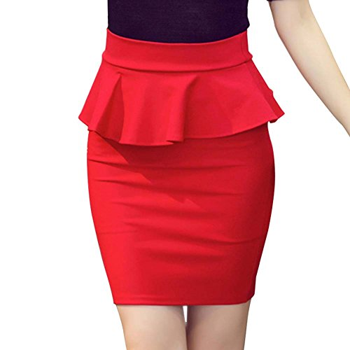 Summer NEW New Women Pure Color OL Lotus Leaf Slim Stretch High Waist Pack Hip Skirt Plus Size S-5XL Women Pencil Skirts