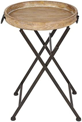 Kate and Laurel Marmora Round Metal and Wood Tray Table, 28