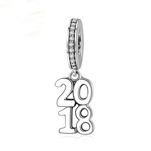 BEAUTY Number 2018 Charm 925 Sterling Silver 2018 Year Bead Fit DIY Bracelet or (Sterling Silver Number Beads)