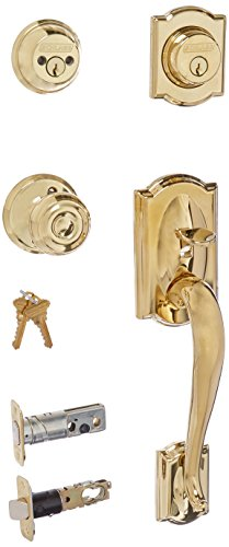 (Schlage F62-CAM-GEO Camelot Double Cylinder Handleset with Georgian Interior Kno, Lifetime Polished)