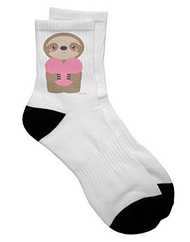 Valentine Socks Gift Cute Sloth Holding Heart Adult Short Socks -