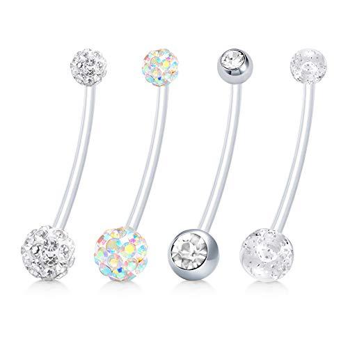 JFORYOU Pregnancy Belly Button Rings Women Maternity Barbell Navel Body Piercing Jewelry Long Belly Rings 4 PCS 14G 1 1/2 Inch Length