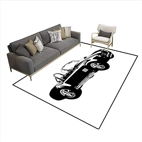 (Floor Mat,Silhouette Classic Sport Car Ac Cobra Roadster American Antique Engine Autosport,Rugs for Bedroom,Black White 6'6