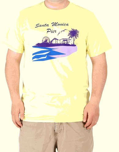 Santa Monica Pier Adult Yellow Mens T-Shirt (Adult - Pier Store