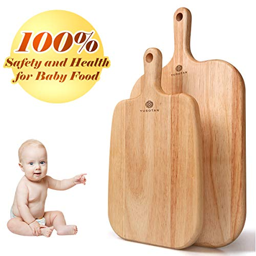 Wood Cutting Board with Handle,Set of 2(10.2 & 13Inch) Premium Quality & Elaborate Handiwork Chopping Board,FDA approved (For Infant Food,Fruit,Vegetables,Cheese) -