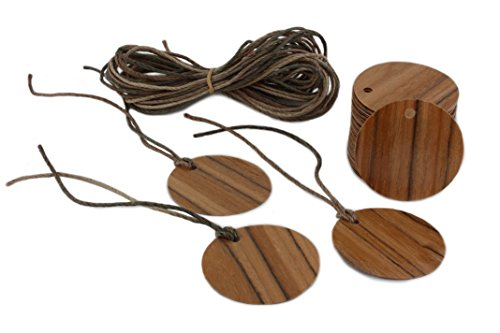 Dry Erase Permanent Marker (Olive Wood Gift Tags Round Shape 100 Count with 30 Feet of Free Cut Multi-Color Cord, Blank Hang Tags for Craft Projects, Xmas Gifts. Dry Erase & Permanent Marker Erasable)