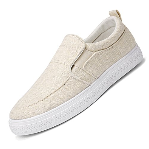 Casual On Beige Espadrillas Slip On Canvas Barca Uomo Slip Sneaker Scarpe da qUzZttwP