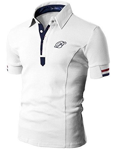 Doublju Mens Polo T-shirts with Short Sleeve WHITE - Polo Us Asian
