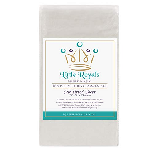 - Little Royals - 100% Pure Charmeuse Silk - Fitted Crib Sheet - Natural White (28