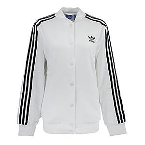 adidas Women's 3-Stripe Bomber Jacket, White, L