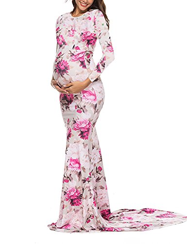 Saslax Maternity Elegant Fitted Maternity Gown Long Sleeve Slim Fit Maxi Photography Dress Scoopneck Taupe Plum XL