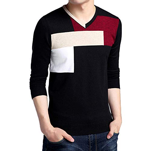 Sunhusing Men's Fashion V-Neck Colorblock Long Sleeve Pullover Slim Fit Knitting Sweater