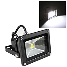 GLW 10w 12v Ac or Dc Daylight White Led Flood Light Waterproof Outdoor Lights 800lm 80w Halogen Bulb Equivalent Black Case