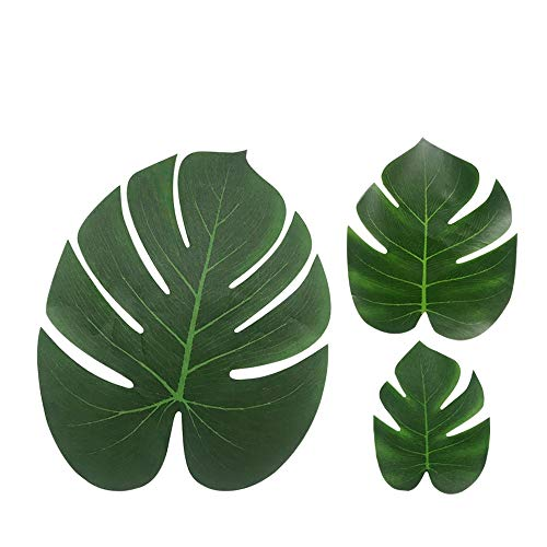 Tropical Palm leaves Luau Party Supplies - Imitation Plant Leaf - Jungle Hawaiian Summer Beach Table Decorations ()