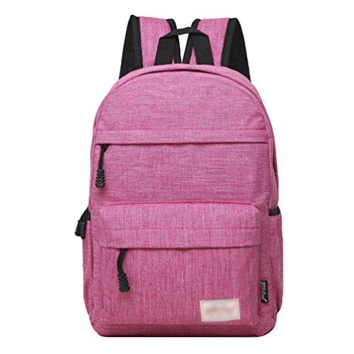 ZKOO Mochila de los Estudiantes Mujeres Hombres Mochila de Viaje Mochilas de Portátil de Lona Backpack Daypacks al Aire Libre Ocio Rosa