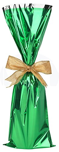 (Metallic Mylar Wine Gift Bags for 750ml to 1L Bottles (6.50 in x 18 inches) by MT Products - 25 Pieces (Green))