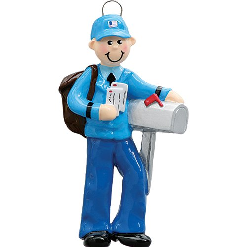 Personalized Mailman Christmas Ornament for Tree 2018 - Postman Carrying Mails with Bag in Uniform - Holiday Postal Service Parcel Office Coworker Profession Letter New Job Gift - Free Customization