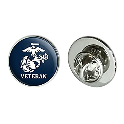"Cheap Graphics and More Veteran USMC Marine Corps White on Blue Officially Licensed Metal 0.75"" Lapel Hat Pin Tie Tack Pinback for cheap"