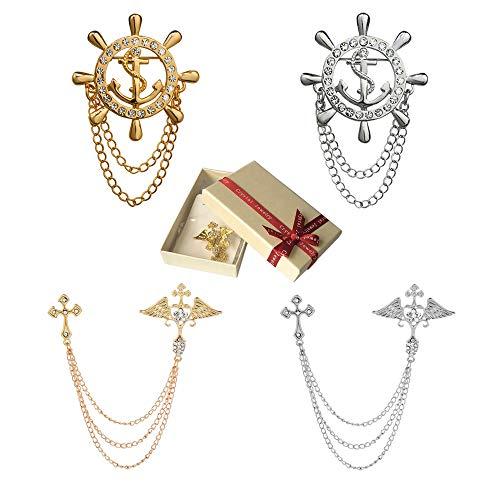 Huture 4 Packs Men's Elegant Lapel Pin Cross Brooch Badge Pin Golden Rudder Brooch Lapel Pin for Men Tie Hat Scarf Suit Tuxedo Gold Silver Color