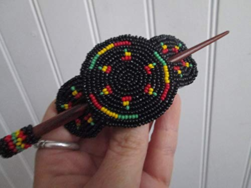 Rasta Rastafarian red green black yellow Hand beaded medallion Guatemalan Fair trade hair jewelry ornament clip stick barrette glass seed beads Guatemala boho design style beadwork