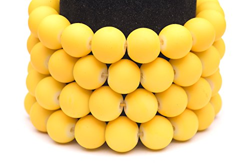 Frosted glass beads yellow rubber-tone beads 8mm round Sold per pkg of 3x32inch (336 BEADS)