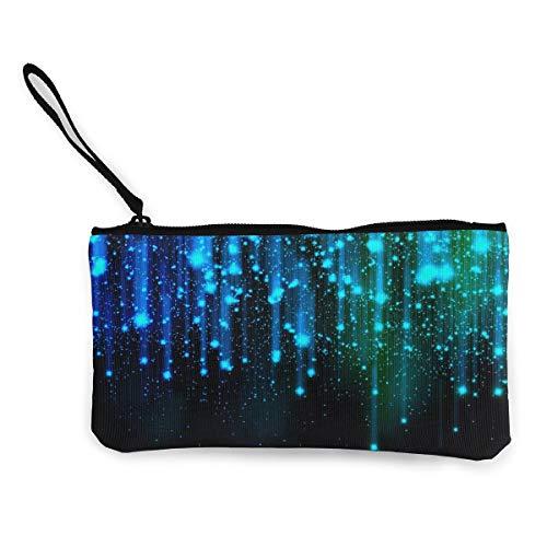 NOWDIDA Women's Canvas Zip Around Wallet Ladies Clutch Travel Purse Wrist Strap Black and Blue Neon Lights ()