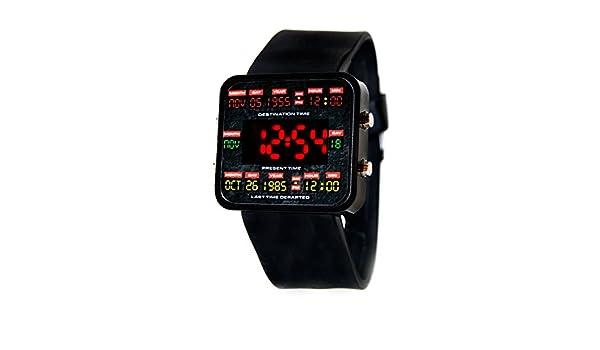 Nuevo Regreso al futuro reloj LED diseño de circuitos de tiempo digital reloj - Marty McFly Retro 80 Delorean Hover Board Juguete de Cosplay diseño de culto ...