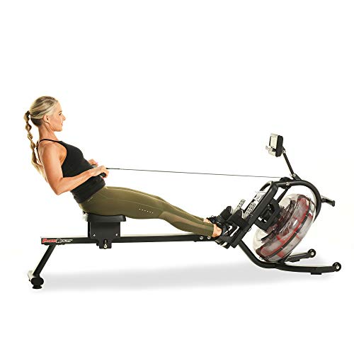 Fitness Reality 3000WR Bluetooth Water Rower Rowing Machine with HIIT Workout
