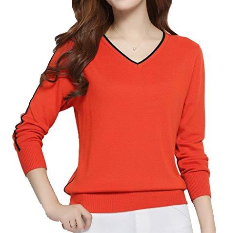 Lunghe Bluse Camicetta Neck 9 Shirts Moda Donna Camicia Pullover Invernali Colour V Eleganti A Grazioso Tops Autunno Maniche Casual 6ddwA0