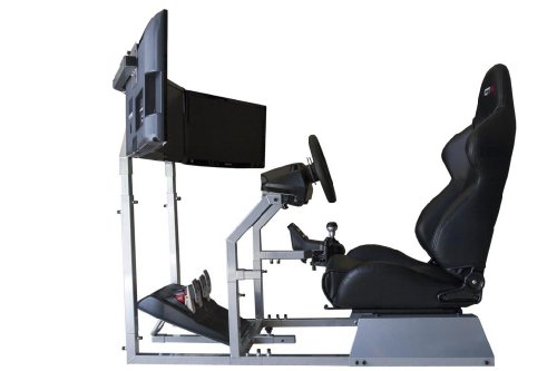 41XGg1ER%2BUL - GTR Simulator - GTA-F Model Racing Simulator Triple or Single Monitor Stand with Adjustable Leatherette Seat, Racing Simulator Cockpit gaming chair Single Monitor Stand
