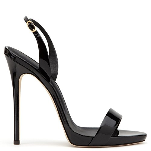 yBeauty Women's High Heel Sandals Open Toe Buckle Heels Slingback Stiletto Heels Sexy Shoes Patent Leather Black ()